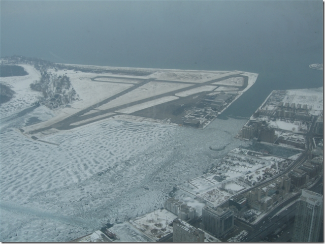 Toronto City Center Airport from the Sky Pod (CN Tower, Toronto)
